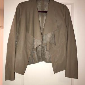 Zara Taupe Vegan Leather & Suede Jacket